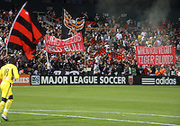 Fans of D.C. United during an MLS match against the New York Red Bulls at RFK Stadium, in Washington D.C. on April 21 2011. Red Bulls won 4-0.