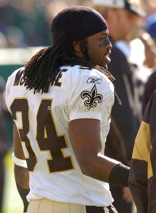 Mike McKenzie, of the New Orleans Saints, during their game against the Green Bay Packer on October 9, 2005...Packers win 52-3...Chris Bernacchi / SportPics.Mike McKenzie, of the New Orleans Saints, during their game against the Green Bay Packer on October 9, 2005...Packers win 52-3...Chris Bernacchi / SportPics
