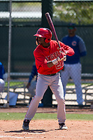 Los Angeles Angels outfielder D'Shawn Knowles (20) at bat during an Extended Spring Training game against the Chicago Cubs at Sloan Park on April 14, 2018 in Mesa, Arizona. (Zachary Lucy/Four Seam Images)