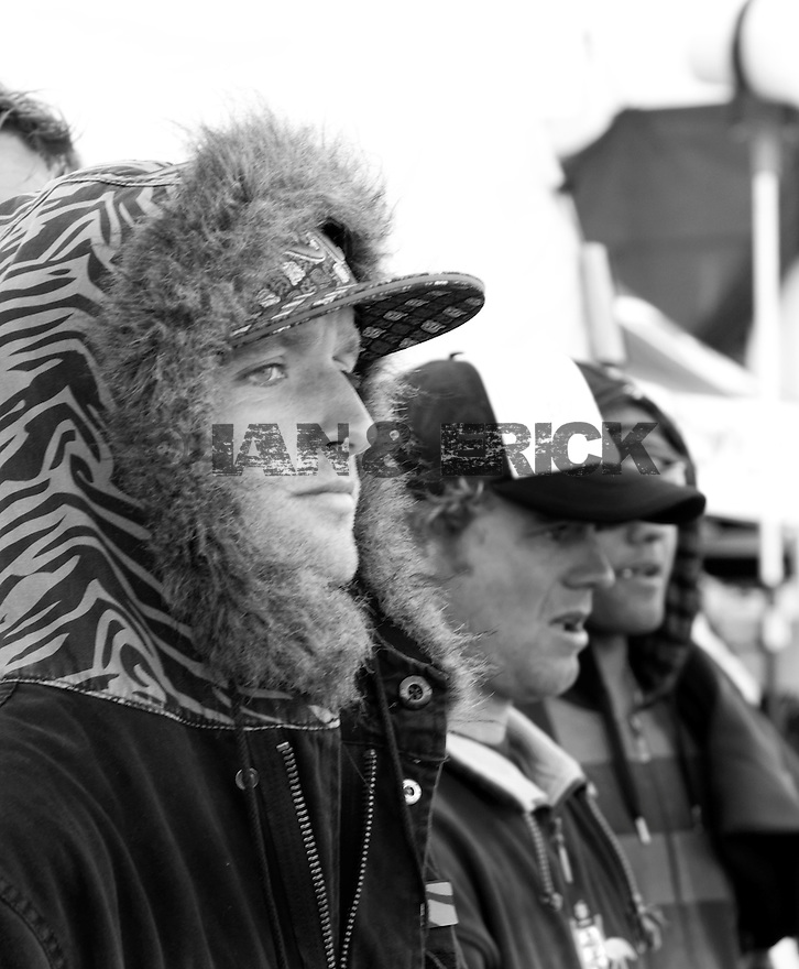 Australian Josh Kerr on a cold day watching the heat of the Quiksilver Pro in Hossegor, France.