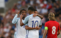 Nathaniel Chalobah (Chelsea) of England celebrates with goalscorer Ruben Loftus-Cheek (Chelsea) of England during the International EURO U21 QUALIFYING - GROUP 9 match between England U21 and Norway U21 at the Weston Homes Community Stadium, Colchester, England on 6 September 2016. Photo by Andy Rowland / PRiME Media Images.