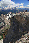 Ascending Mt Marmolada, Dolomites, northern Italy, Europe.