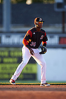Batavia Muckdogs shortstop Garvis Lara (34) during a game against the State College Spikes on June 23, 2016 at Dwyer Stadium in Batavia, New York.  State College defeated Batavia 8-4.  (Mike Janes/Four Seam Images)