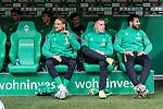 02.11.2019, wohninvest WESERSTADION, Bremen, GER, 1.FBL, Werder Bremen vs SC Freiburg<br /> <br /> DFL REGULATIONS PROHIBIT ANY USE OF PHOTOGRAPHS AS IMAGE SEQUENCES AND/OR QUASI-VIDEO.<br /> <br /> im Bild / picture shows<br /> Michael Lang (Werder Bremen #04), <br /> Johannes Eggestein (Werder Bremen #24), <br /> Claudio Pizarro (Werder Bremen #14), <br /> auf Ersatzbank, <br /> im Hintergrund Stefanos Kapino (Werder Bremen #27), <br /> Joshua Sargent (Werder Bremen #19), <br /> Benjamin Goller (Werder Bremen #39), <br /> <br /> Foto © nordphoto / Ewert