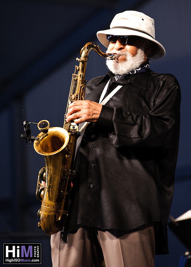 Sonny Rollins playing at the New Orleans Jazz and Heritage Festival in New Orleans, LA on the final day of the festival.