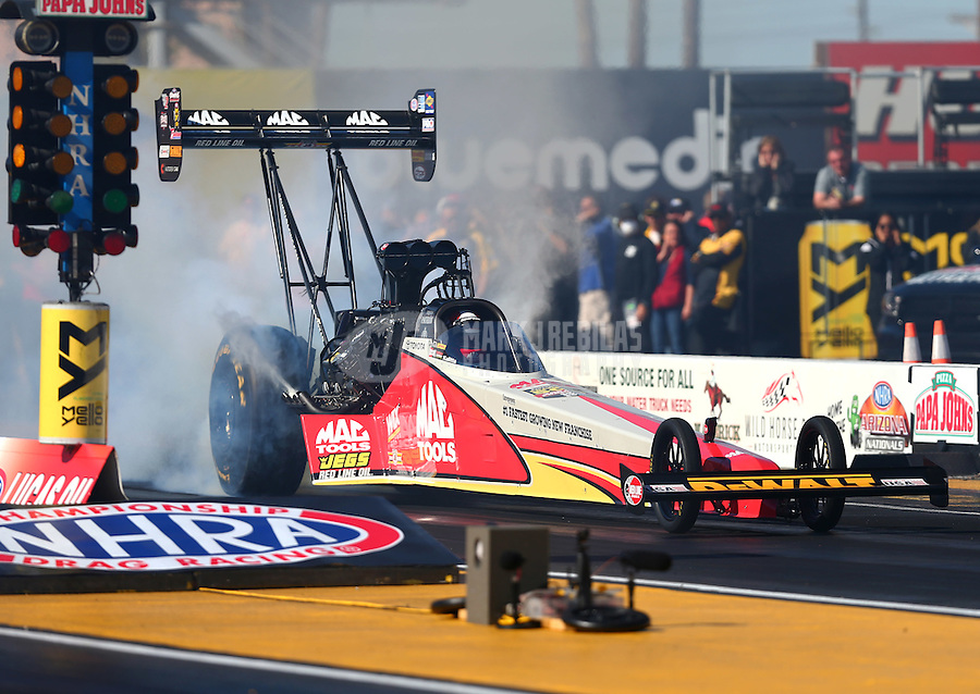 Feb 24, 2017; Chandler, AZ, USA; NHRA top fuel driver Doug Kalitta during qualifying for the Arizona Nationals at Wild Horse Pass Motorsports Park. Mandatory Credit: Mark J. Rebilas-USA TODAY Sports