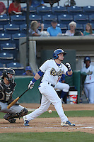 Alex Verdugo (16) of the Rancho Cucamonga Quakes fouls a ball off the ground in front of him during a game against the High Desert Mavericks at LoanMart Field on August 18, 2015 in Rancho Cucamonga, California. High Desert defeated Rancho Cucamonga, 4-0. (Larry Goren/Four Seam Images)