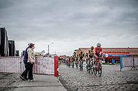 Eugenio Alafaci (ITA/Trek Segafredo) in front of the peloton riding the cobbles.<br /> <br /> 103th Kampioenschap van Vlaanderen 2018 (UCI 1.1)<br /> Koolskamp &ndash; Koolskamp (186km)