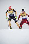 HOLMENKOLLEN, OSLO, NORWAY - March 16: (L-R) Johannes Rydzek of Germany (GER) and Marjan Jelenko of Slovenia (SLO) during the cross country 15 km (2 x 7.5 km) competition at the FIS Nordic Combined World Cup on March 16, 2013 in Oslo, Norway. (Photo by Dirk Markgraf)