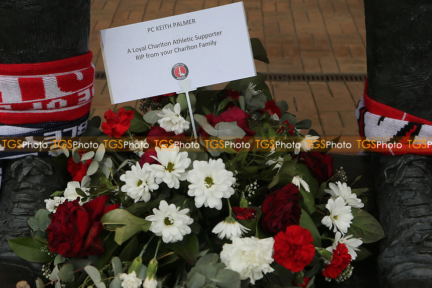 A floral display to PC Keith Palmer. Supporters have been invited to lay flowers or other tributes and stand together against acts of terror and to remember all those who have been affected by the incident in Westminster during Charlton Athletic vs MK Dons, Sky Bet EFL League 1 Football at The Valley on 4th April 2017