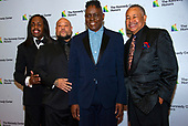Earth, Wind & Fire members, from left, bassist Verdine White, Kahbran White, son of Earth, Wind & Fire founder Maurice White who died in 2016, singer Philip Bailey and percussionist Ralph Johnson arrive for the formal Artist's Dinner honoring the recipients of the 42nd Annual Kennedy Center Honors at the United States Department of State in Washington, D.C. on Saturday, December 7, 2019. The 2019 honorees are: Earth, Wind & Fire, Sally Field, Linda Ronstadt, Sesame Street, and Michael Tilson Thomas.<br /> Credit: Ron Sachs / Pool via CNP