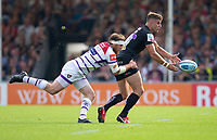 \Exeter Chiefs' Ollie Devoto is tackled by Leicester Tigers' Brendon O'Connor<br /> <br /> Photographer Bob Bradford/CameraSport<br /> <br /> Gallagher Premiership - Exeter Chiefs v Leicester Tigers - Saturday September 1st 2018 - Sandy Park - Exeter <br /> <br /> World Copyright © 2018 CameraSport. All rights reserved. 43 Linden Ave. Countesthorpe. Leicester. England. LE8 5PG - Tel: +44 (0) 116 277 4147 - admin@camerasport.com - www.camerasport.com
