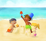 Illustration of playful children building sand castle on beach