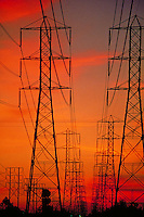 High-voltage, High Tension, Power Lines, Transition Stations, Fiery Sunset, California