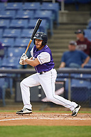 Binghamton Rumble Ponies center fielder Patrick Biondi (6) at bat during a game against the Akron RubberDucks on May 12, 2017 at NYSEG Stadium in Binghamton, New York.  Akron defeated Binghamton 5-1.  (Mike Janes/Four Seam Images)