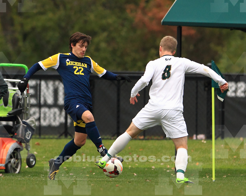 The University of Michigan men's soccer team were defeated 2-0 by Michigan State University, losing the Brown Bear for a year. East Lansing, MI. November 9, 2013