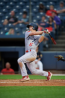 Reading Fightin Phils Luke Williams (11) hits a home run during an Eastern League game against the Akron RubberDucks on June 4, 2019 at Canal Park in Akron, Ohio.  Akron defeated Reading 8-5.  (Mike Janes/Four Seam Images)