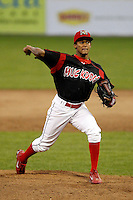 Batavia Muckdogs pitcher Yunier Castillo #7 during the second game of a doubleheader against the Mahoning Valley Scrappers at Dwyer Stadium on August 22, 2011 in Batavia, New York.  Mahoning Valley defeated Batavia 11-3.  (Mike Janes/Four Seam Images)