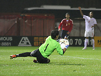 Gevorg Harutyunyan saves in the Armenia v Switzerland UEFA European Under-19 Championship Qualifying Round match at New Douglas Park, Hamilton on 11.10.12.