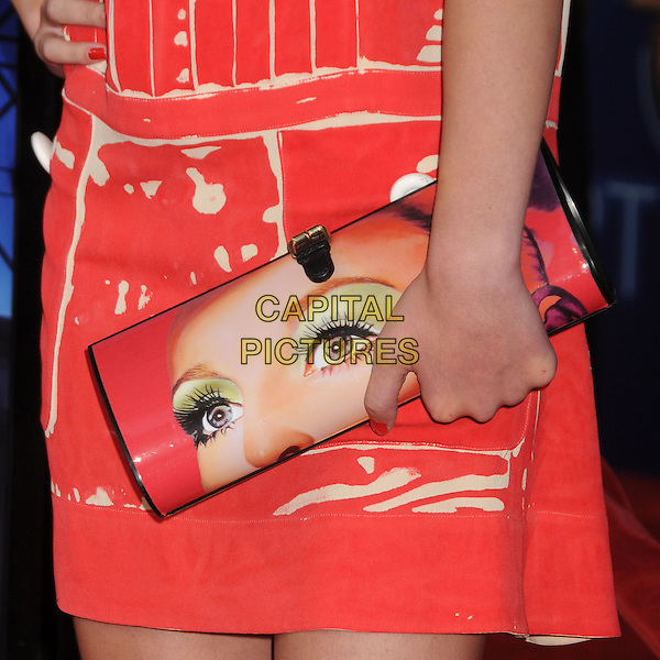 Hailee Steinfeld's shoes.The 20th Century Fox 'Glee 3D' Concert World Movie Premiere held at The Regency Village theatre in Westwood, California, USA,.August 6th 2011..detail clutch bag twiggy face hand red.CAP/ADM/BP.©Byron Purvis/AdMedia/Capital Pictures.