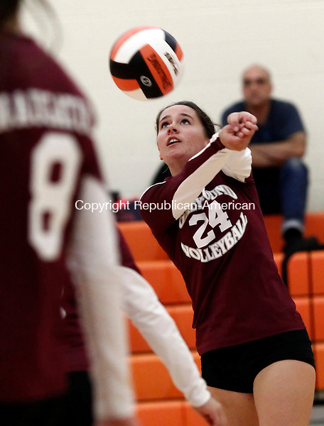 Terryville, CT- 03 October 2013-100313CM12-   Naugatuck's Kait Barry returns the ball to Terryville during a volleyball matchup Thursday night in Terryville.  Christopher Massa Republican-American