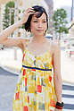 July 9, 2012, Tokyo, Japan - Shinyong, Online Boutique Shop Owner and Model. Today's fashion point - summer style with bright colors. Favorite brand - Eva Franco and Tadashi Shoji because both brands are classy and elegant. She bought her dress from a online shop. Shinyong likes the Odaiba area and any place near the bay and beach because she grew up in Okinawa. (Photo by Christopher Jue/Nippon News)