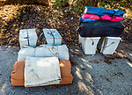 Camp gear weighed and ready for loading onto the horses. John Muir Wilderness, Sierra National Forest, on the western slope of the Sierra Nevada, California