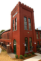 Photography of Charlotte NC's Alpha Mill Apartments, an upscale apartment community near Uptown Charlotte and the NoDa Arts District. Transformed from an historic cotton mill, the Alpha Mill Apartments maintain a part of Charlotte's history. The Alpha Cotton Mill was Charlotte's second cotton mill, according to Alpha Mill Apartment's website.