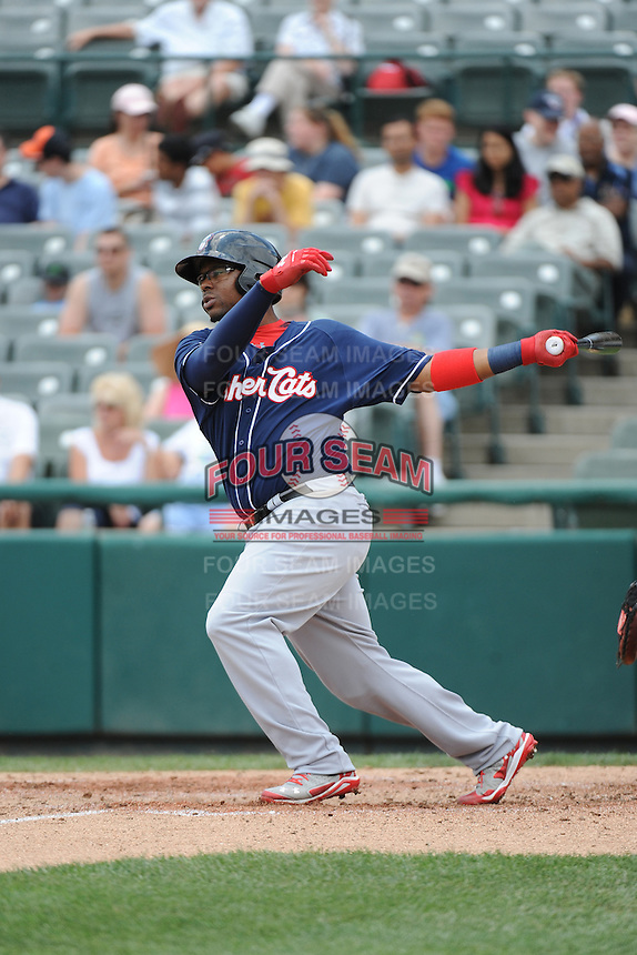 New Hampshire Fisher Cats infielder Mike McDade (40) during game against the Trenton Thunder at ARM & HAMMER Park on June 22, 2014 in Trenton, NJ.  New Hampshire defeated Trenton 7-2.  (Tomasso DeRosa/Four Seam Images)