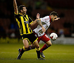 Billy Sharp of Sheffield Utd tussles with Phil Edwards of Burton Albion - English League One - Sheffield Utd vs Burton Albion - Bramall Lane Stadium - Sheffield - England - 1st March 2016 - Pic Simon Bellis/Sportimage
