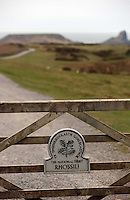 Pictured: The National Trust gate on the path that leads to Worm's Head. Monday 17 March 2014<br />