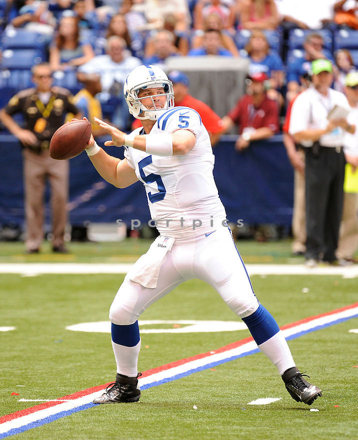 DREW STANTON (5),  of the Indianapolis Colts in action during the Colts preseason game against the St. Louis Rams on August 12, 2012 at Lucas Oil Stadium in Indianapolis, IN. The Colts beat the Rams 38-3.