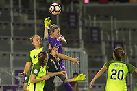 Orlando, FL - Thursday September 07, 2017: Lydia Williams, Alanna Kennedy during a regular season National Women's Soccer League (NWSL) match between the Orlando Pride and the Seattle Reign FC at Orlando City Stadium.