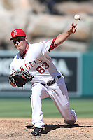 09/13/12 Anaheim, CA: Los Angeles Angels starting pitcher Nick Maronde #63 during an MLB game played between the oakland Athletics and Los Angeles Angels at Angel Stadium. The Angels defeated the A's 6-0.
