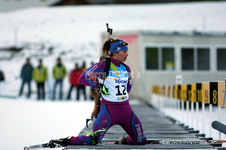 FRA Claire Breton competes during the 20 km Individual Biathlon race as part of the Winter Universiade Trentino 2013 on 13/12/2013 in Lago Di Tesero, Italy.<br /> <br /> &copy; Pierre Teyssot - www.pierreteyssot.com