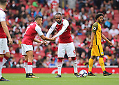 1st October 2017, Emirates Stadium, London, England; EPL Premier League Football, Arsenal versus Brighton; Alexandre Lacazette of Arsenal and Alexis Sanchez of Arsenal prepare to kick off