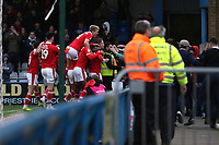 Barnsley players congratulate Cauley Woodrow after scoring their third goal during Gillingham vs Barnsley, Sky Bet EFL League 1 Football at The Medway Priestfield Stadium on 9th February 2019