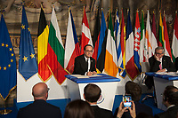 Rome, Italy, March 25,2017. French President Francois Hollande signs a declaration during an EU summit meeting at the Orazi and Curiazi Hall in the Palazzo dei Conservatori in Rome. European Union leaders were gathering in Rome to mark the 60th anniversary of their founding treaty and chart a way ahead following the decision of Britain to leave the 28-nation bloc.