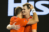 January 30, 2016: Jamie Murray of United Kingdom and Bruno Soares of Brazil celebrate winning the Men's Doubles Final against Daniel Nestor of Canada and Radek Stepanek of Czech Republic on day thirteen of the 2016 Australian Open Grand Slam tennis tournament at Melbourne Park in Melbourne, Australia. Murray and Soares won 26 64 75. Photo Sydney Low