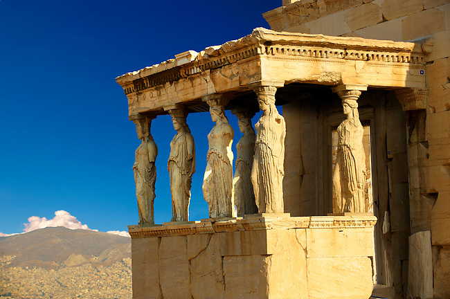 The Porch of the Caryatids.  The Erechtheum, the Acropolis of Athens in Greece.