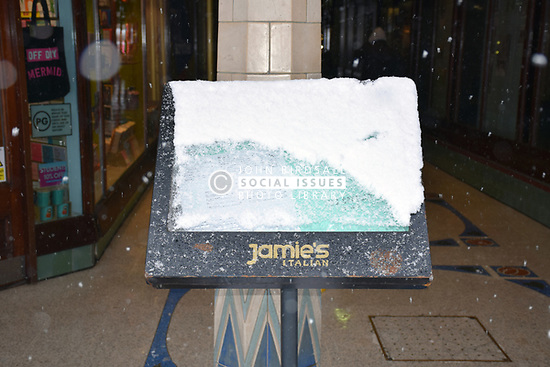Snow, Norwich Feb 2018 UK. Jamie's Italian restaurant sign