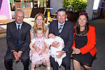 Baby Hanna Butler, Christened at Ballymelligott  Church of Ireland by Reverend Sue Watterson and after a celebration with family at O'Riadas on Sunday. Pictured l-r  Derrick Blennerhassett  Godfather, Linda Butler Mother, Alison Butler Sister, Aidan Butler Father, Hanna Butler, Nora Butler Godmother,