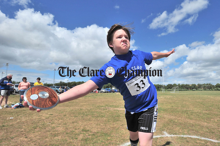 Matthew Gallagher from Cratloe warms up for the Discus heats during the Community Games Finals at Lees Road. Photograph by Declan Monaghan