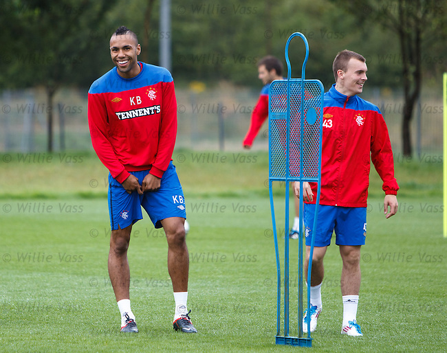 Kyle Bartley having a laugh at training