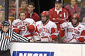 Karson Gillespie, ?, ?, Ryan Weston, ?, David Van der Gulik - The Boston University Terriers defeated the Boston College Eagles 2-1 in overtime in the March 18, 2006 Hockey East Final at the TD Banknorth Garden in Boston, MA.