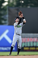 Jamestown Jammers shortstop Tyler Filliben (15) catches a pop up during a game against the Batavia Muckdogs on July 7, 2014 at Dwyer Stadium in Batavia, New York.  Batavia defeated Jamestown 9-2.  (Mike Janes/Four Seam Images)