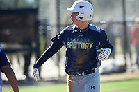 Canon Chester (12) from Portland, Texas during the Baseball Factory All-America Pre-Season Rookie Tournament, powered by Under Armour, on January 14, 2018 at Lake Myrtle Sports Complex in Auburndale, Florida.  (Michael Johnson/Four Seam Images)