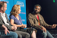 """From right, Assistant Professor of ECLS and cultural critic James Ford talks with music critic Evelyn McDonnell and KCRW """"Morning Becomes Eclectic"""" host Jason Bentley during a panel discussion on """"Can Popular Music Still Change Culture?"""" The event was hosted by Occidental College and Zócalo Public Square on Thursday, May 29, 2013 at the Downtown Independent in Los Angeles. Thaddeus Russell, adjunct assistant professor of American studies, moderates. The partnership is part of OxyTalks. (Photo by Marc Campos, Occidental College Photographer)"""
