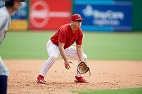 Clearwater Threshers third baseman Damek Tomscha (21) during the first game of a doubleheader against the Lakeland Flying Tigers on June 14, 2017 at Spectrum Field in Clearwater, Florida.  Lakeland defeated Clearwater 5-1.  (Mike Janes/Four Seam Images)