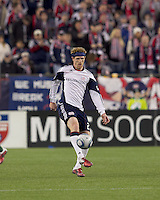 New England Revolution midfielder Pat Phelan (28) traps the ball. In a Major League Soccer (MLS) match, the New England Revolution tied the Portland Timbers, 1-1, at Gillette Stadium on April 2, 2011.